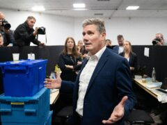 Labour leader Sir Keir Starmer talks to the press at the Labour Party conference in Brighton (Stefan Rousseau/PA)