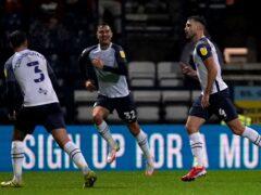 Ben Whiteman celebrates his equaliser for Preston against Stoke (Martin Rickett/PA)