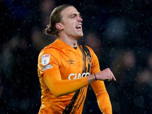 Tom Eaves celebrates scoring Hull's late leveller against Blackpool (Mike Egerton/PA)