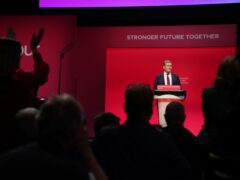 Labour party leader Sir Keir Starmer delivers his keynote speech (Andrew Matthews/PA)