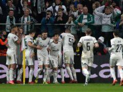 Legia Warsaw celebrate after Mahir Emreli's goal (Czarek Sokolowski/AP)