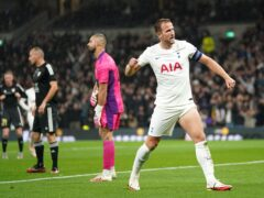 Tottenham's Harry Kane celebrates scoring (Nick Potts/PA)