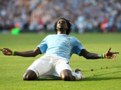 Manchester City forward Emmanuel Adebayor sprinted the length of the pitch to celebrate scoring in front of the Arsenal fans (Nick Potts/PA)