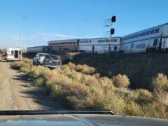The scene of the derailment in Montana (Kimberly Fossen via AP)