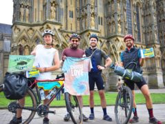 Cyclists (from left to right) Georgie Cottle, Ed Roberts-Graver, Mark Statham and David Charles outside Wells Cathedral (Dai Richards/David Charles/PA).