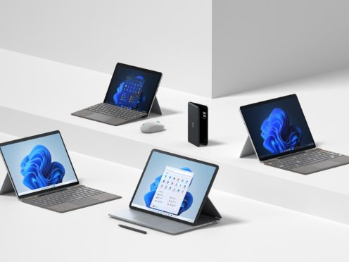 The new range of Microsoft Surface devices (Microsoft/PA)