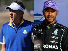 Ian Poulter and Lewis Hamilton (Gareth Fuller/POOL via FIA/PA)