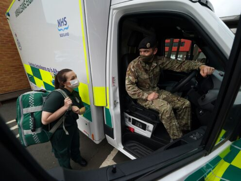 The armed forces have been called in to help the Scottish Ambulance Service amid concerns over NHS waiting times (Andrew Milligan/PA)