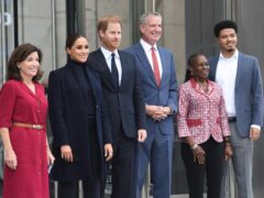 Governor of New York State Kathy Hochul, left to right, the Duchess and Duke of Sussex, New York City mayor Bill de Blasio, first lady of New York Chirlane McCray and son Dante de Blasio after visiting the One World Observatory (Michael Appleton/Mayoral Photography Office/PA)