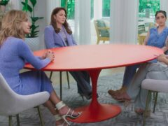Lili, left to right, Gloria and Emily Estefan with guest Claire Crowley during Red Table Talk: The Estefans (Facebook Watch via AP)