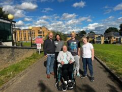 Ms Brower visiting her father in Putney with her partner, Daryl, and children, Blake, 15, and Zaine, 12 (Nadine Brower/PA).