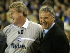 Claudio Ranieri shares a joke with Steve Bruce during their respective tenures as Birmingham and Chelsea bosses (Nick Potts/PA)