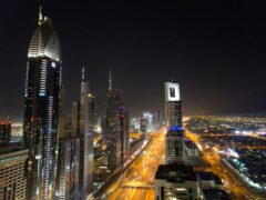A view of the skyline at night of downtown Dubai, UAE (PA)