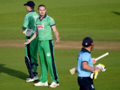 Ireland's Josh Little gives England batter Jonny Bairstow a send-off during the 2020 one-day series (Mike Hewitt/PA)