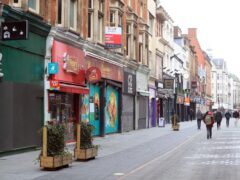 Closed shops during the winter lockdown on Leicester High Street. (PA)