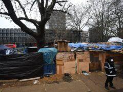 The anti-HS2 camp at Euston Square Gardens (Victoria Jones/PA)