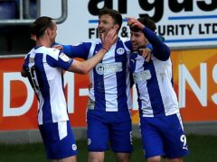 Callum Lang (right) and Will Keane (left) were on the scoresheet in a routine Wigan win (Simon Marper/PA)