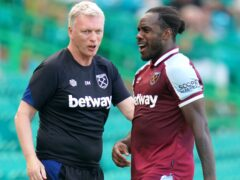 West Ham manager David Moyes, left, has high expectations of Michail Antonio (Jane Barlow/PA)