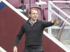 Robbie Neilson was sent off as Hearts drew (PA)