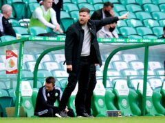 Thomas Courts gestures on the touchline during the cinch Premiership match at Celtic Park, Glasgow. Picture date: Sunday September 26, 2021.