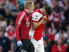 Arsenal midfielder Granit Xhaka was forced off against Tottenham with a serious knee injury (Nick Potts/PA)