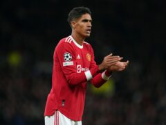 Manchester United defender Raphael Varane has been ruled out for a few weeks with a groin injury (Martin Rickett/PA)