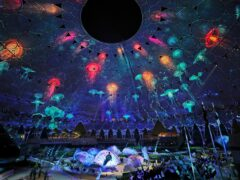 Artists perform during the opening ceremony of the Dubai Expo 2020 (Kamran Jebreili/AP)