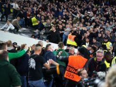 Rapid Vienna fans tried to get to West Ham supporters (Mike Egerton/PA)