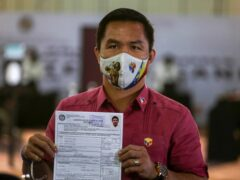 Retired Filipino boxing star and senator Manny Pacquiao files his certificate of candidacy for next year's presidential elections