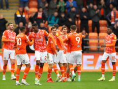 Blackpool's Jerry Yates (second right) celebrates with his team-mates (Tim Markland/PA)