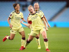 Arsenal's Kim Little (centre) celebrates the opening goal