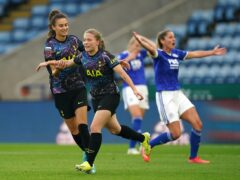 Tottenham's Angela Addison (second left) celebrates scoring their second goal in a 2-0 win at Leicester (Mike Egerton/PA)