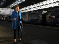Nicola Sturgeon was speaking at Glasgow Queen Street Station on Monday (Russell Cheyne/PA)
