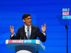 Chancellor Rishi Sunak speaking at the Conservative Party conference in Manchester (Peter Byrne/PA)