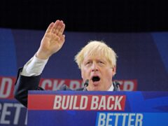 Prime Minister Boris Johnson delivers his keynote speech at the Conservative Party conference in Manchester (Peter Byrne/PA)