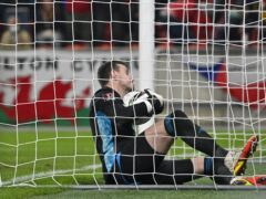 Wales goalkeeper Danny Ward scores an own goal in the 2-2 draw with the Czech Republic (PA Wire via CTK)