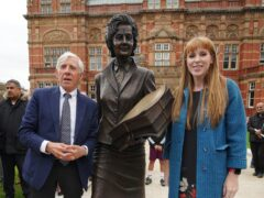 Jack Straw and Labour deputy leader Angela Rayner at the unveiling of a statue of former Blackburn MP Barbara Castle (Peter Byrne/PA)