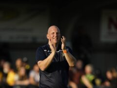 Sutton manager Matt Gray celebrates after the victory against Port Vale (Aaron Chown/PA)
