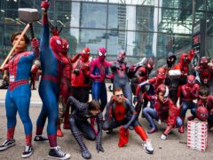 Fans all dressed as Spider-Man gather during New York Comic Con (Charles Sykes/AP)