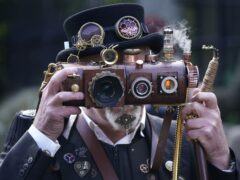 Costumed revellers at the Haworth Steampunk Weekend, in the Pennine hills village, West Yorkshire (Danny Lawson/PA)