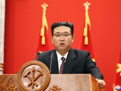 North Korean leader Kim Jong Un delivers a speech during an event to celebrate the 76th anniversary of the country's Workers' Party in Pyongyang on Sunday (Korean Central News Agency/Korea News Service/AP)