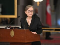 Tunisian prime minister Najla Bouden talks during the swearing-in ceremony of the new government (Slim Abid/AP)