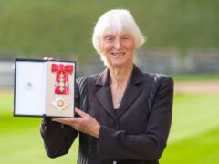 Baroness Sue Campbell after being made a Dame Commander at an investiture ceremony held at Windsor Castle (Dominic Lipinski/PA)