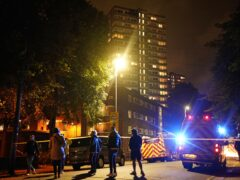 The scene of a fire at a tower block on Westbridge Road in Battersea (Aaron Chown/PA)