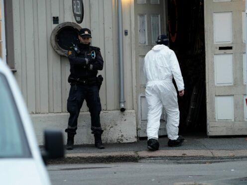 Police work near a site after a man killed several people in Kongsberg, Norway (Terje Bendiksby/NTB via AP)