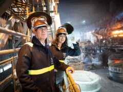 Sir Keir Starmer, left, and shadow chancellor Rachel Reeves visit Outokumpu Stainless in Sheffield (Stefan Rousseau/PA)