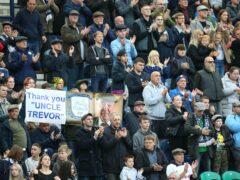 Preston fans applaud former owner Trevor Hemmings (Nigel French/PA)