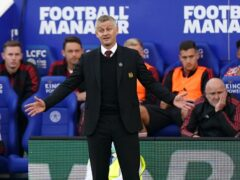 Ole Gunnar Solskjaer shows his frustration during the defeat to Leicester (Mike Egerton/PA)