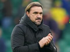 Norwich manager Daniel Farke (second left) saw his side held by Brighton (Joe Giddens/PA).