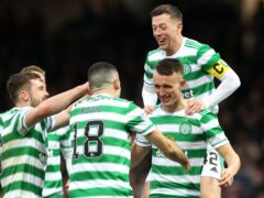 Celtic celebrate David Turnbull's stunning goal in a 2-0 win at Motherwell (Steve Welsh/PA)